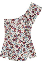 Isabel Marant Rowina One Shoulder Printed Silk Top Red