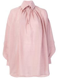 Etro Oversized Button Collar Shirt Silk Pink Purple