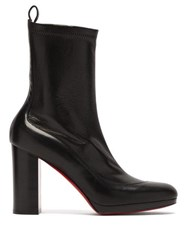 Christian Louboutin Contrevent 100 Bonded Leather Ankle Boots Black