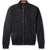 Paul Smith Wool And Cashmere Blend Bomber Jacket Blue