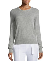 Vince Contrast Tipping Crewneck Sweater Heather Steel Off White H Steel Off White