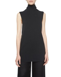 The Row Leona Sleeveless Turtleneck Top Black