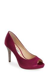 Nina 'Fiorah' Peep Toe Pump Women Red Satin