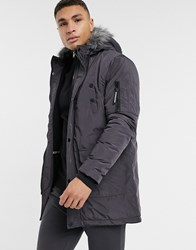 Soul Star Parka Jacket In Charcoal Grey
