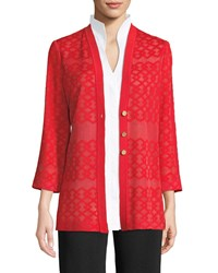 Misook Subtly Sheer Button Front Jacket Poppy Red