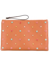 Red Valentino Star Embellished Clutch Brown