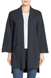 Women's Eileen Fisher Silk And Organic Cotton Knit Long Sleeve Kimono Coat Black