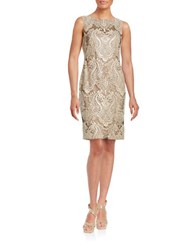 Calvin Klein Sequined Damask Sheath Dress Beige