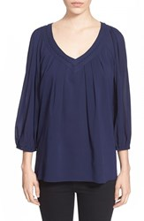 Women's Diane Von Furstenberg 'Davi' V Neck Stretch Silk Peasant Top
