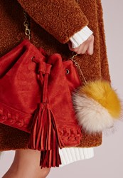 Missguided Large Pom Pom Key Chain Yellow Yellow