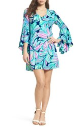 Lilly Pulitzer Rosalia Bell Sleeve A Line Dress High Tide Navy Dancing Lady