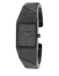 Steve Madden Hammered Geo Metal Bangle Watch Black