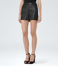 Reiss Pearl Womens Leather Shorts In Black