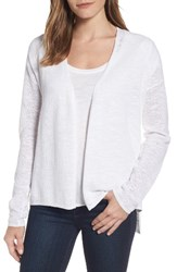 Eileen Fisher Women's V Neck Organic Linen And Cotton Cardigan White