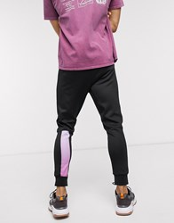 Religion Skinny Fit Polycot Jogger With Colour Fade Leg Taping In Black