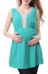 Kimi And Kai Women's Darla Lace Inset Maternity Top Teal