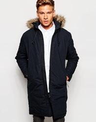 Selected Homme Parka With Removable Faux Fur Hood Darknavy