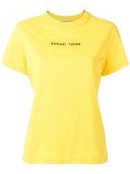 Jour Ne Slogan Print T Shirt Women Cotton 38 Yellow Orange