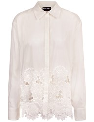 Rochas Natural Silk Embroidered Shirt Cream
