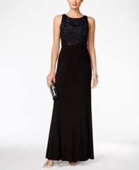 Adrianna Papell Beaded Bodice A Line Gown Navy Black