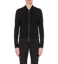 Callens Collared Stretch Crepe Bomber Jacket Black