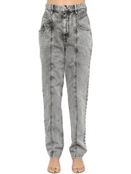 Etoile Isabel Marant Henoya High Waist Cotton Denim Jeans Grey