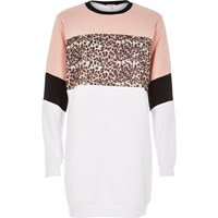 River Island Womens White Animal Block Print Longline Sweatshirt