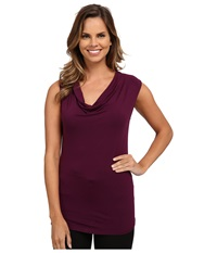 Adrianna Papell Solid V Neck Cap Sleeve Top Wine Women's Clothing Burgundy