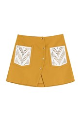 Kenzo Cotton Blend Mini Skirt Brown