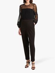 French Connection Paulette Jersey Puff Sleeve Jumpsuit Black