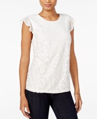 Maison Jules Flutter Sleeve Crochet Lace Top Only At Macy's Egret