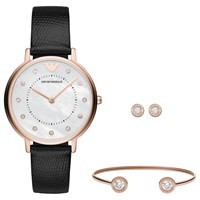 Emporio Armani Ar80011 Women's Crystal Leather Strap Watch Stud Earrings And Bangle Gift Set Black White