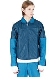 Telfar Leather Denim Sleeve Jacket Turquoise