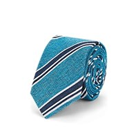 Sartorio Striped Cotton Blend Necktie Turquoise