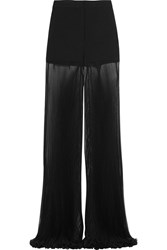 Versace Cady And Plisse Silk Chiffon Wide Leg Pants