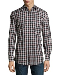 Neiman Marcus Trim Fit Tartan Plaid Sport Shirt Black Red
