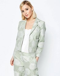 Asos Jacquard Occasion Cropped Blazer Co Ord Mint Green