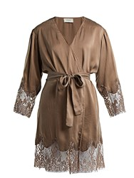 Icons Art Lily Silk Robe Brown
