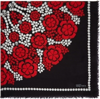 Alexander Mcqueen Black And Red Floral Circle Pashmina Scarf