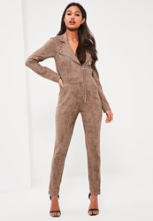 Missguided Brown Premium Faux Suede Zip Through Jumpsuit Taupe