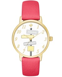 Kate Spade New York Women's Metro Neon Geranium Leather Strap Watch 34Mm Ksw1127 Gold