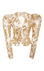 Rodarte Gold Sequin And Lace Fitted Jacket