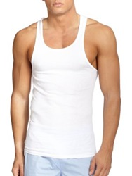 Saks Fifth Avenue Ribbed Sleeveless Tank 3 Pack White