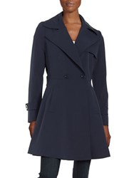 Trina Turk Phoebe Double Breasted Trench Coat Navy Blue