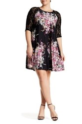 Taylor Printed Jersey And Lace Dress Plus Size Purple