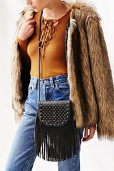 Ecote Studded Fringe Saddle Bag Black
