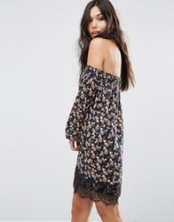 Asos Off Shoulder Dress In Ditsy With Lace Hem Multi