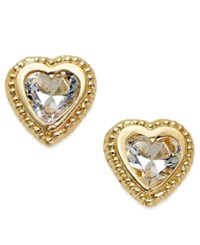 Macy's Cubic Zirconia Beaded Edge Heart Stud Earrings In 10K Gold Yellow Gold