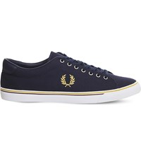 Fred Perry Underspin Canvas Trainers Carbon Blue Yolk