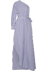 Rosetta Getty One Shoulder Gingham Cotton Wrap Gown Royal Blue